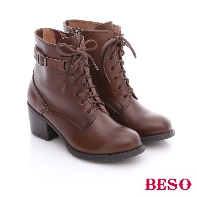 BESO 潮人街頭風 率性真皮綁帶釦飾短筒軍靴 咖啡色