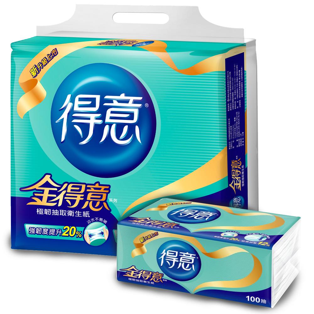 [限時搶購]金得意極韌連續抽取式花紋衛生紙100抽 x84包/箱 @ Y!購物