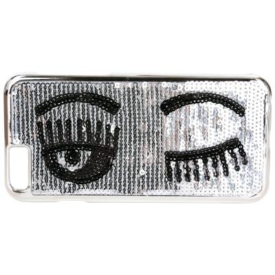 Chiara Ferragni Flirting i6 眨眼圖案縫製亮片手機殼(銀色)