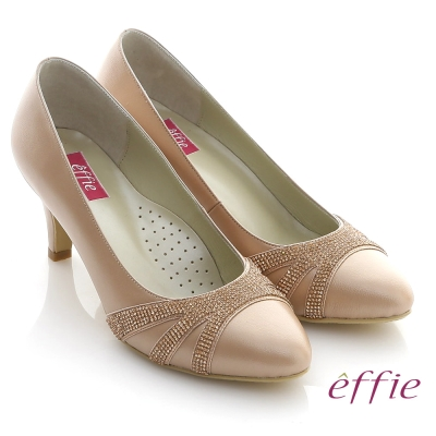 effie 華麗響宴 MIT全真皮水鑽珠光宴會跟鞋 粉橘