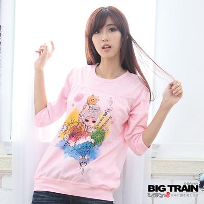 【BIG TRAIN】女款 小葵聖代七分袖長T(粉色)