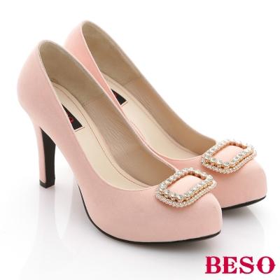 BESO亮眼奢華-緞面立體水鑽高跟鞋-粉