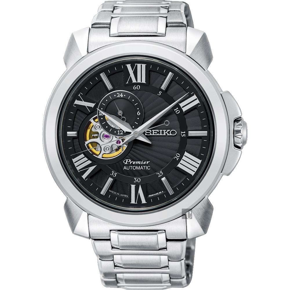 SEIKO精工 Premier 開芯小鏤空機械錶(SSA371J1)-黑x銀/42.9mm