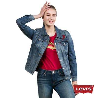 Levis-女款深藍刺繡水洗牛仔夾克外套