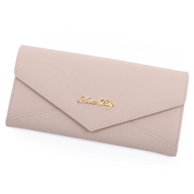 ANNA DOLLY 俏麗微甜Envelope真皮信封長夾 香檳粉