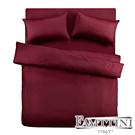 義大利Famttini-典藏原色 單人三件式精梳棉被套床包組-棗紅