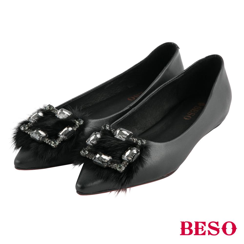 BESO 璀璨星光 水鑽方型釦毛毛尖頭平底鞋~黑