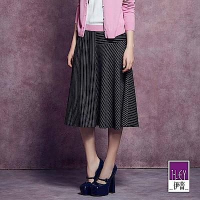 ILEY伊蕾 時尚剪接條紋荷葉長裙魅力價商品(黑)