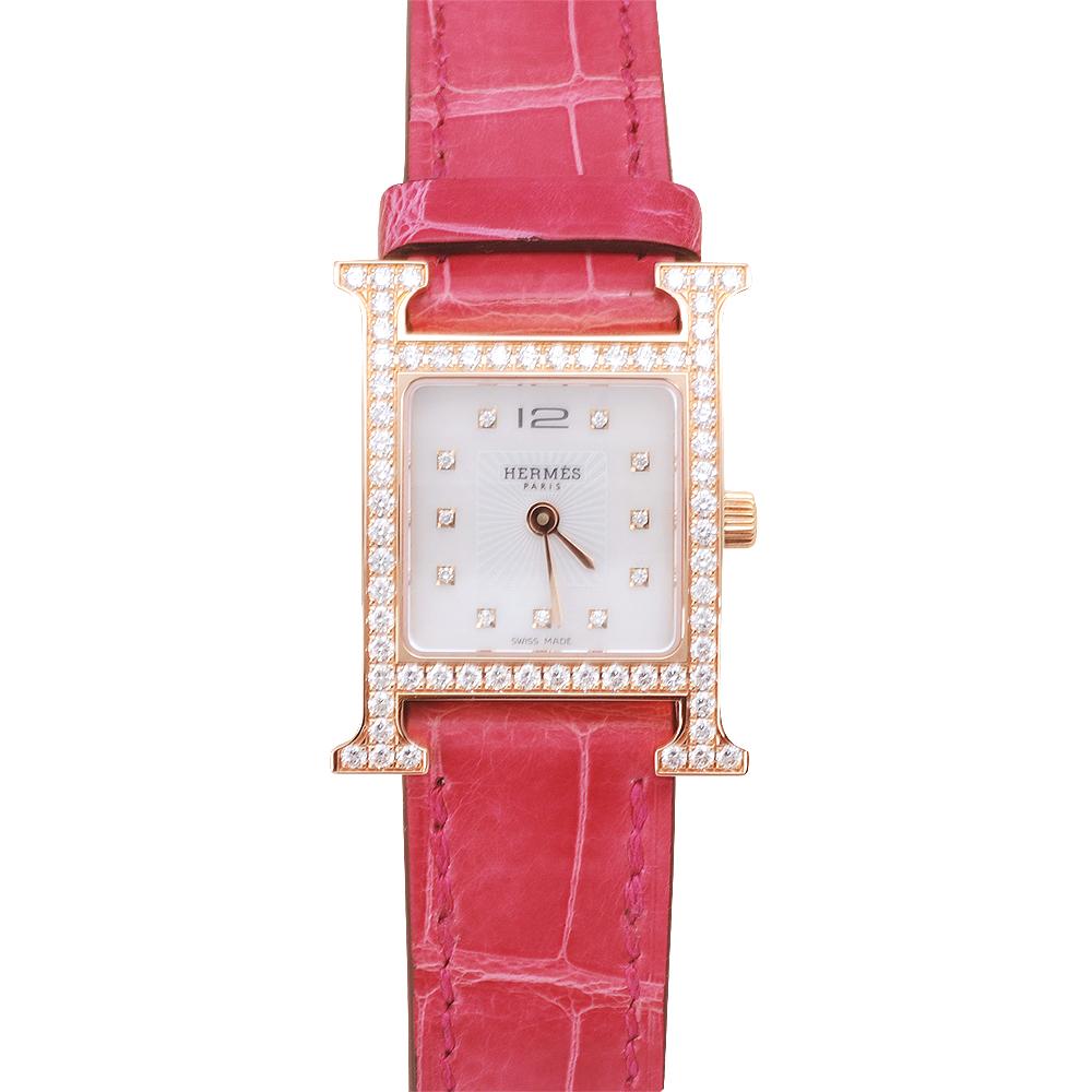 HERMES H-our 系列 真鑽鱷魚皮金框仕女腕錶-白x桃紅色/21mm