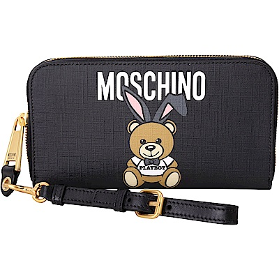 MOSCHINO Playboy 聯名款兔耳泰迪熊圖案皮夾/手腕包(黑色)