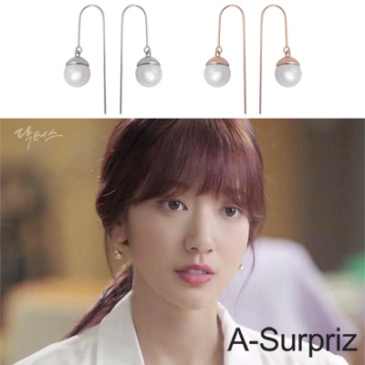 A-Surpriz韓劇Doctors 100%925銀U型貝珍珠耳環(2色選)