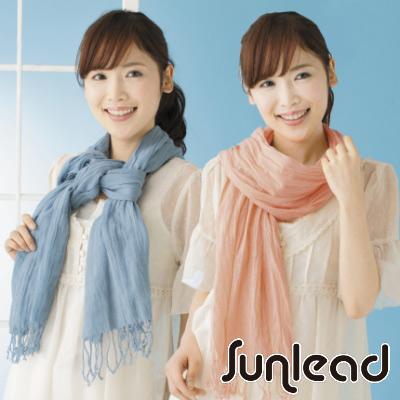 Sunlead 日系時尚寬版抗UV防曬抓皺圍巾/披肩