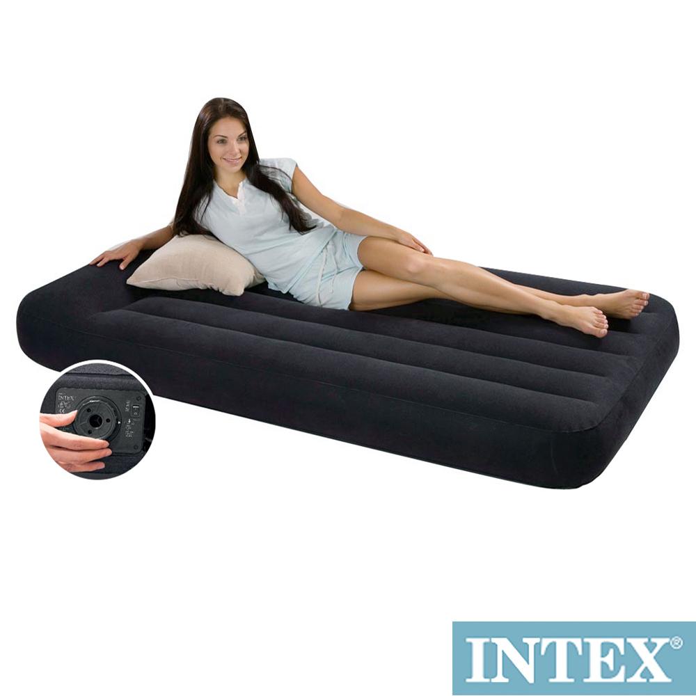 INTEX 舒適型內建電動幫浦充氣床墊-單人加大-寬99cm-有頭枕(66775)
