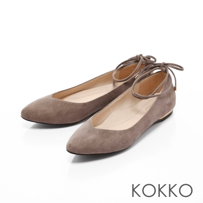 KOKKO-復古優雅V口綁帶真皮平底鞋-午茶灰
