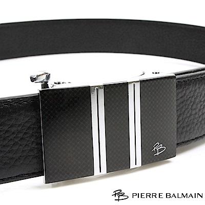 PB 皮爾帕門-都會設計直條格款-頭層牛皮自動扣皮帶-855
