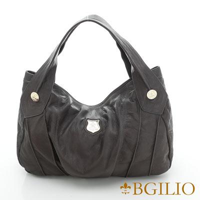 義大利BGilio-義大利牛皮都會時尚肩背包-灰色