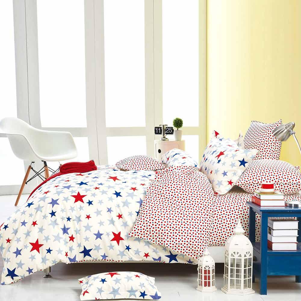 Ania Casa 台灣製 100%純棉 - 雙人床包枕套三件組 (星星迷情)