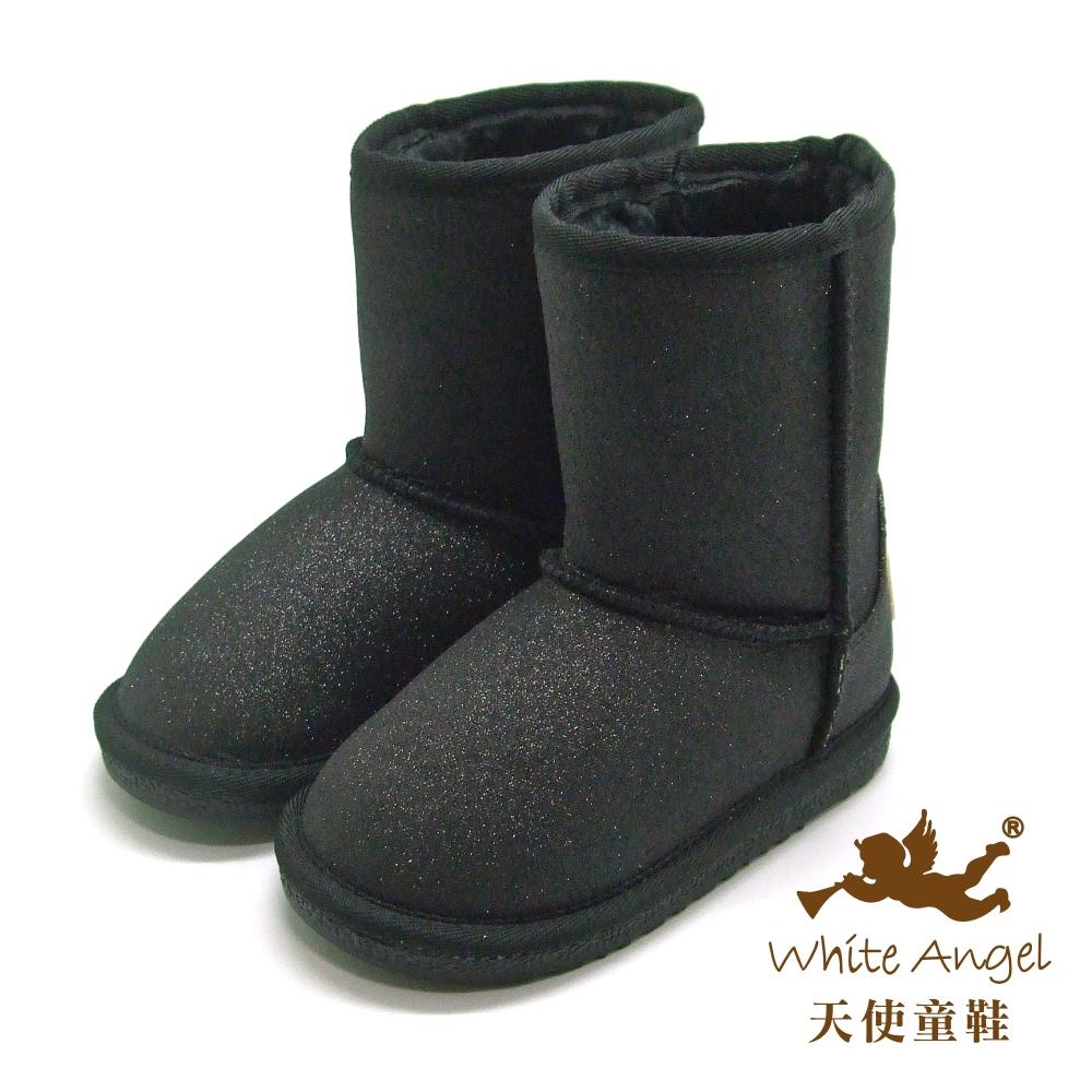 天使童鞋-B326N 微閃冰晶暖暖靴 (中-大童)-星空黑
