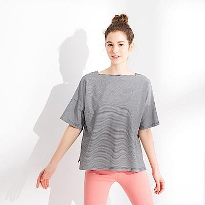 CACO-拼接領口條紋上衣(三色)-女【PSH212】