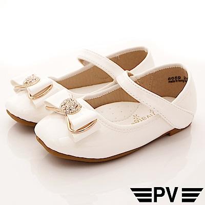 PV日系私藏 緞帶晶鑽公主鞋款 8659白(中小童段)