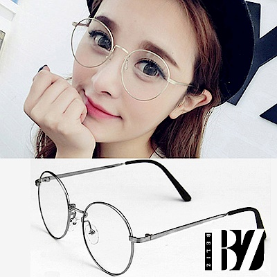 BeLiz 書香文青 圓框細銀平光眼鏡