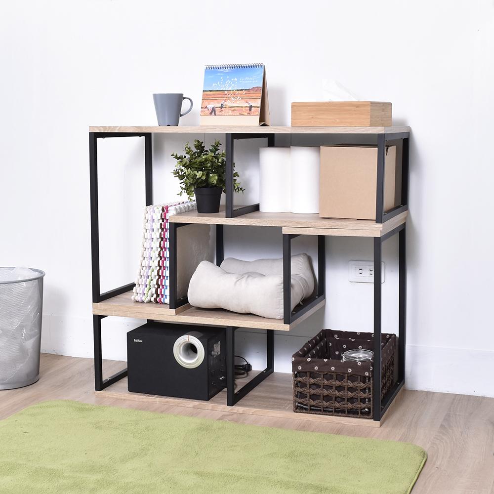 凱堡 工業風L型活動置物架 可推疊層架 書架 電視櫃架 2入組 90x39x56