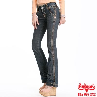 【BOBSON】女款磨力美人低腰小喇叭褲(復古藍77)