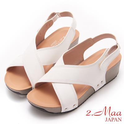 2.Maa-獨特簡約交叉設計厚底涼鞋-白
