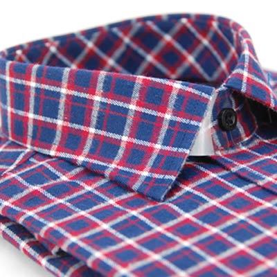 金‧安德森 紅藍白格紋保暖窄版長袖襯衫