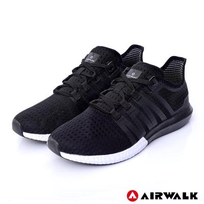 【美國 AIRWALK】輕量繫帶透氣網布慢跑鞋-黑