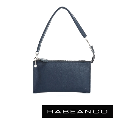 RABEANCO 頂級荔枝紋牛皮手拿包長夾 墨水藍