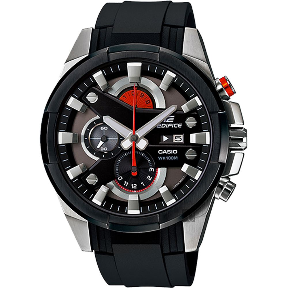 CASIO卡西歐 EDIFICE 賽車計時手錶-橘x黑/54mm