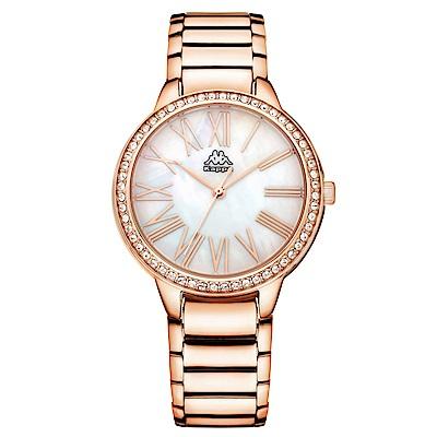 Kappa 閃耀羅馬不鏽鋼時尚腕錶-白x玫瑰金/ 35 mm