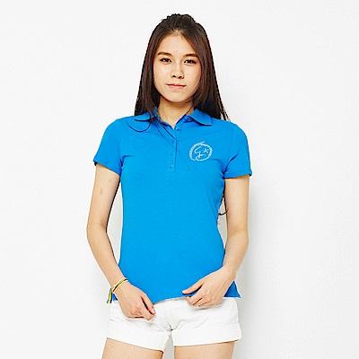 【TOP GIRL】燙鑽設計短袖POLO衫-湖水藍