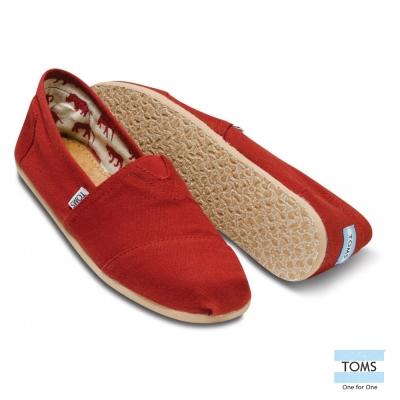 TOMS 經典帆布懶人鞋-男款(紅)