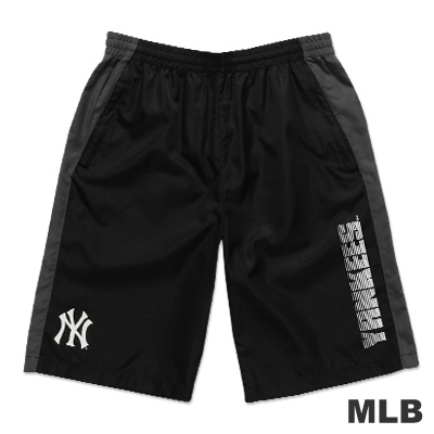 MLB-紐約洋基隊風衣布撞色運動短褲-黑(男)