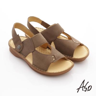 A.S.O 涼拖系列 全真皮可調式後帶涼拖鞋 咖啡