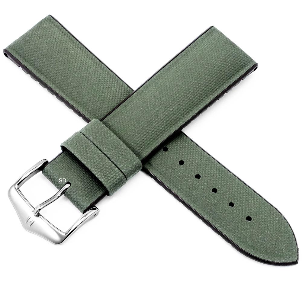 海奕施 HIRSCH Arne L 防水300米 複合皮革橡膠錶帶 布料壓紋-綠