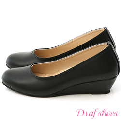 D+AF 好穿推薦‧MIT素面圓頭4cm坡跟鞋*黑