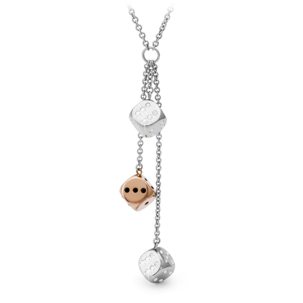 Brosway Chance 2銀1玫瑰鍍金水鑽骰子不鏽鋼項鍊