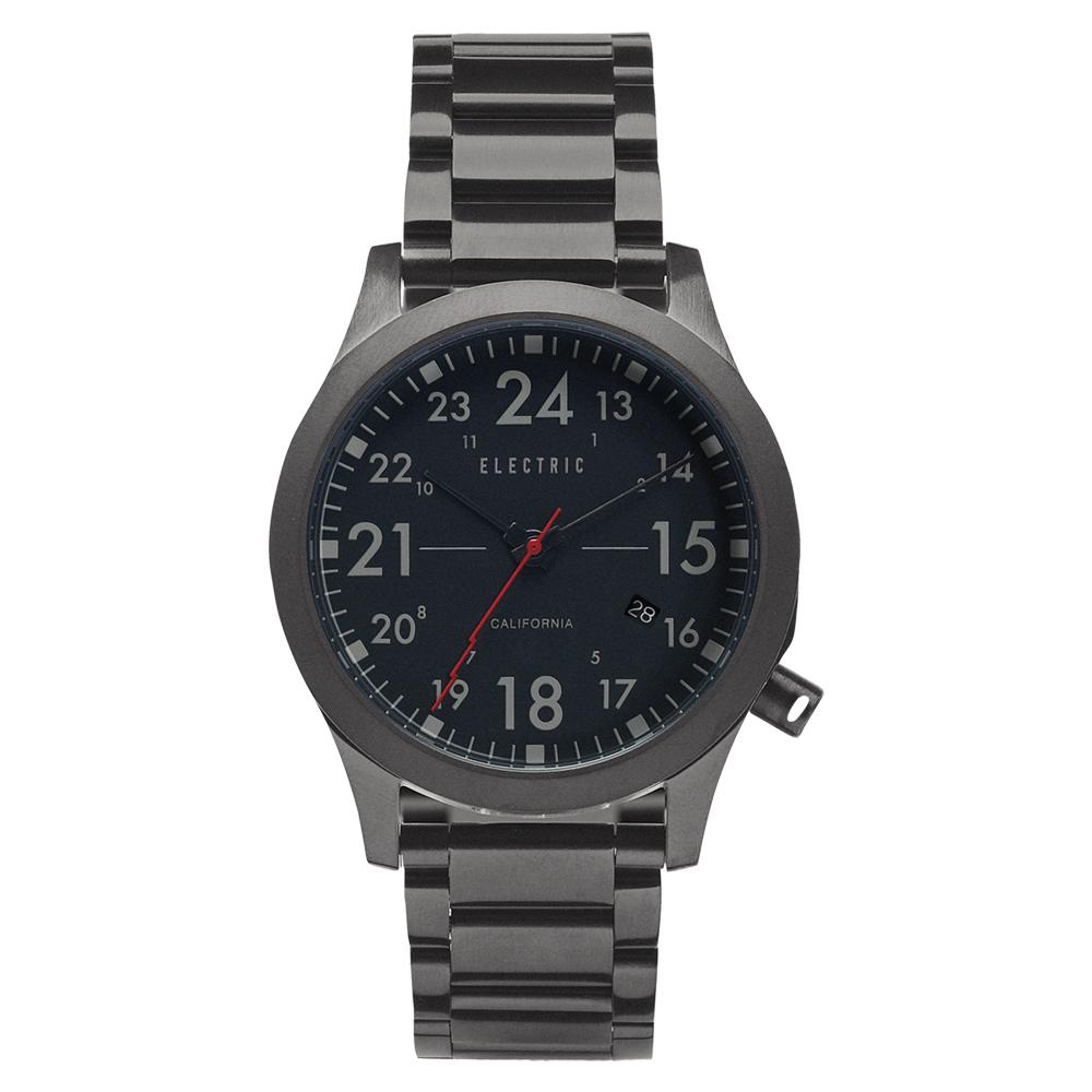 ELECTRIC FW01系列-摩登雅痞風潮腕錶-黑面x鐵灰鋼帶/40mm