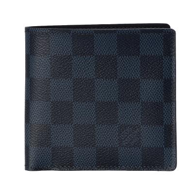 LV N63213 Damier 經典棋盤格零錢袋短夾(黑藍色)