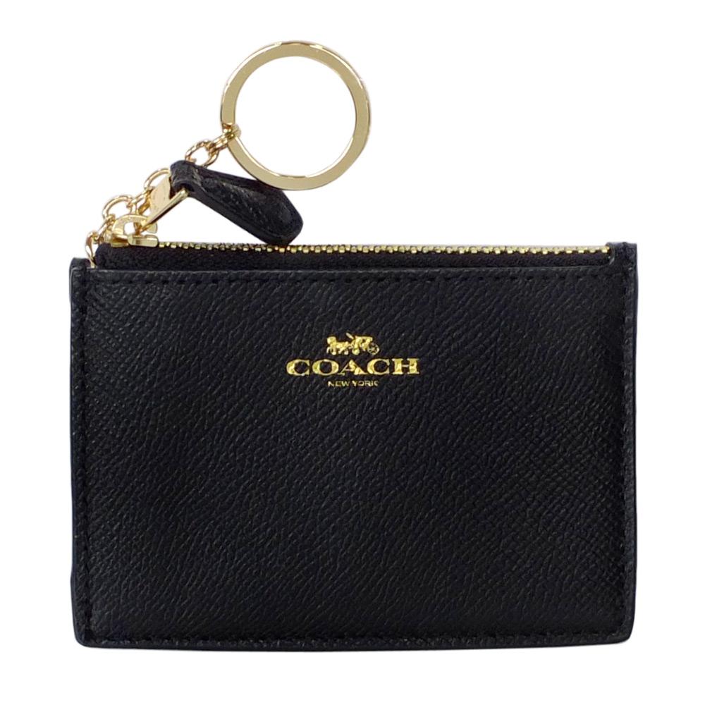 COACH黑色防刮皮革後卡夾鑰匙零錢包