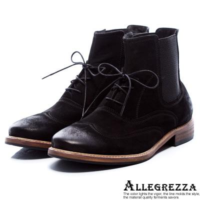 ALLEGREZZA. 帥氣綁帶短靴 麂皮黑