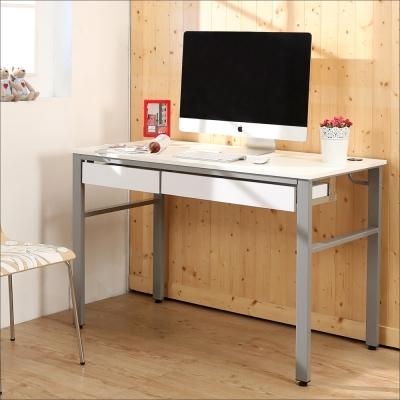 BuyJM 鏡面環保低甲醛120公分穩重型雙抽屜工作桌-DIY
