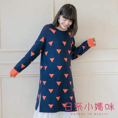 日系小媽咪孕婦裝-韓製孕婦裝~滿版三角形側開衩針織洋裝 (共三色)