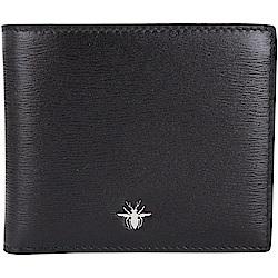 Dior Homme 蜜蜂金屬綴飾小牛皮對折短夾(黑色)