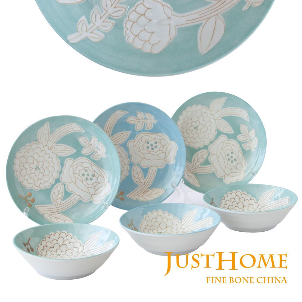 Just Home日本製幸福花語陶瓷餐具6件組淺井平盤