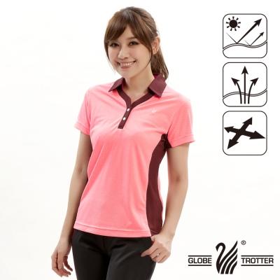 【遊遍天下】女款抗UV吸濕排汗機能POLO衫GS10011淺粉