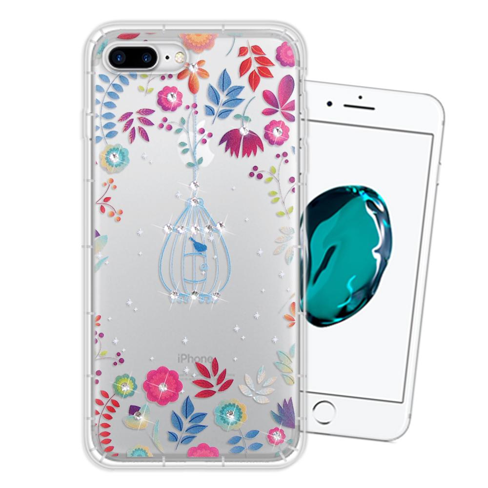 WT iPhone 8 Plus/ 7 Plus 奧地利水晶彩繪空壓手機殼(鳥羽花萃)